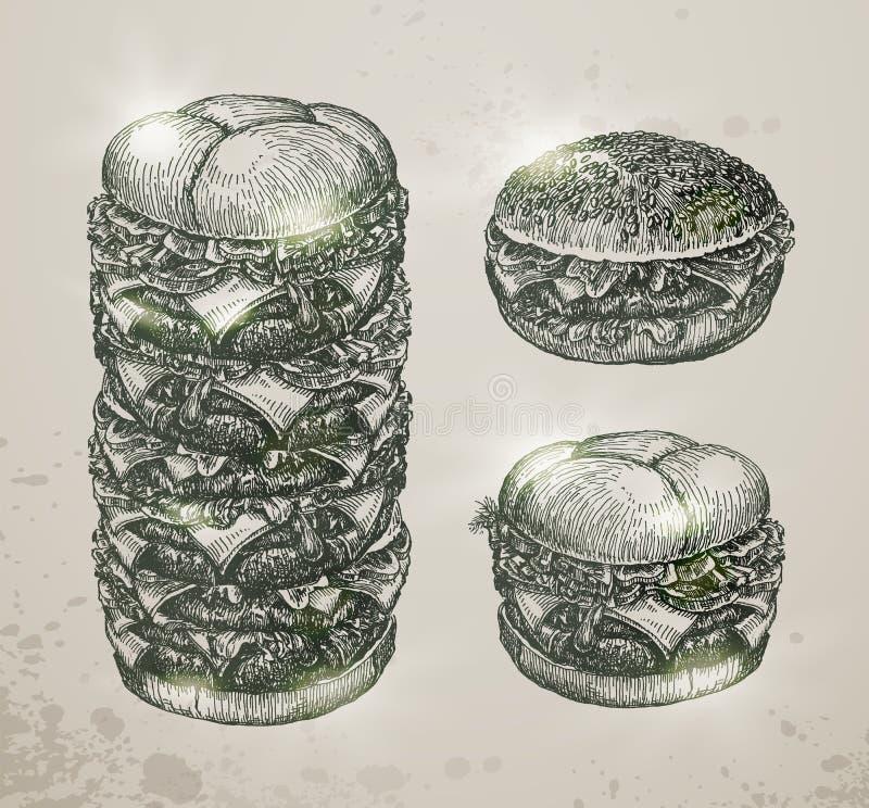Fast food do vintage, Hamburger Mão desenhada ilustração do vetor