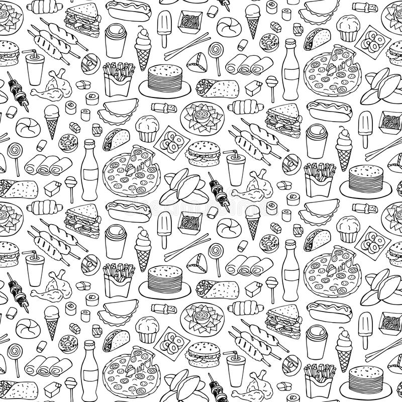 Fast Food Doodle Seamless Pattern. Vector illustration of seamless pattern with hand drawn fast food and drink elements vector illustration
