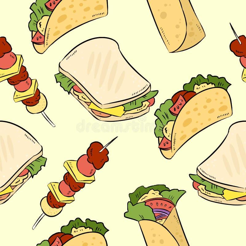 Fast food doodles ślicznego bezszwowego wzór Wektorowy druk ilustracja wektor