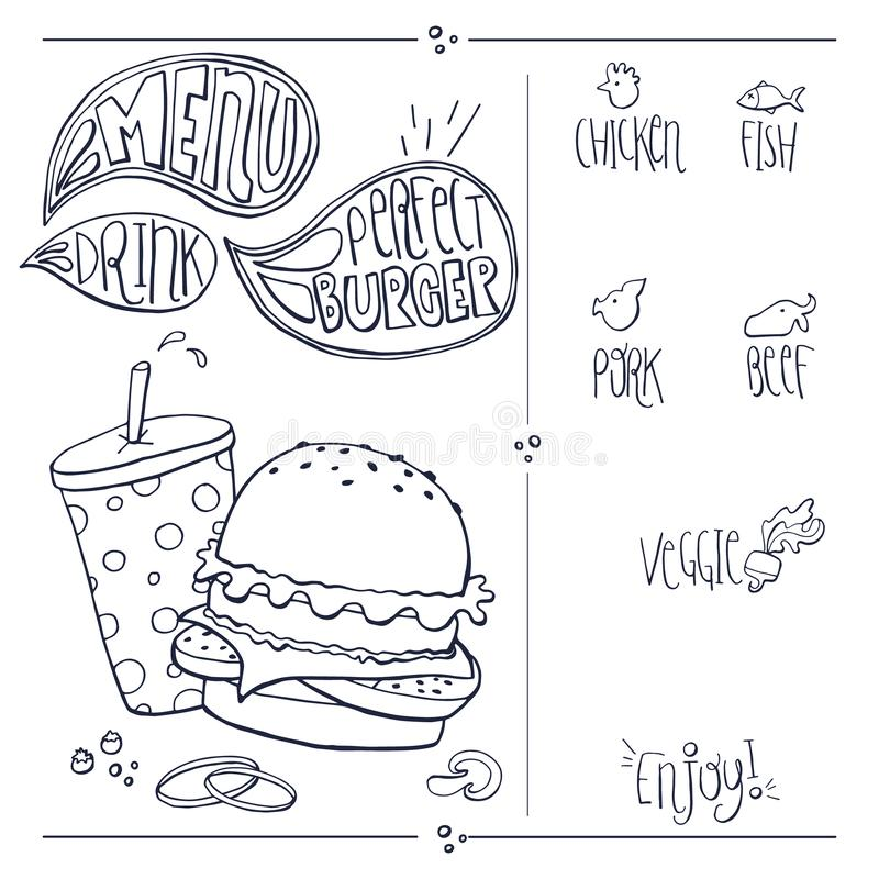 Fast Food Doodles Hand Drawn Sketchy Vector Symbols. Sketched doodle set vector illustration