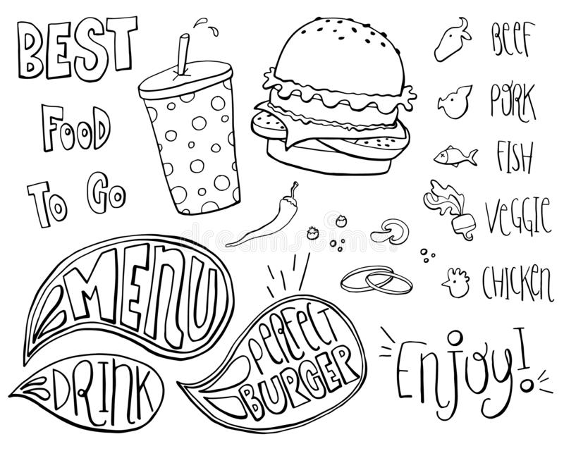Fast Food Doodles Hand Drawn Sketchy Vector Symbols. Sketched doodle set royalty free illustration