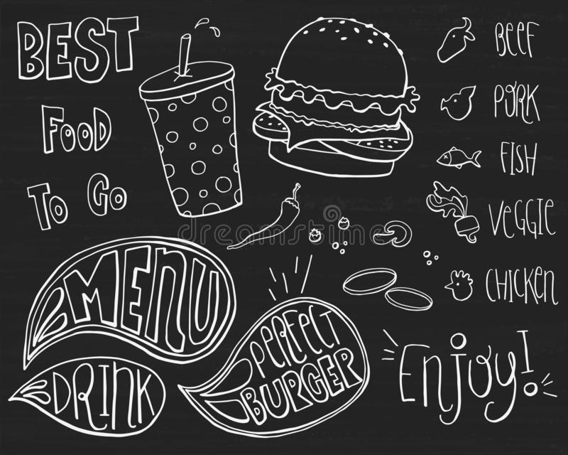Fast Food Doodles Hand Drawn Sketchy Vector Symbols. Sketched doodle set on chalkboard stock illustration