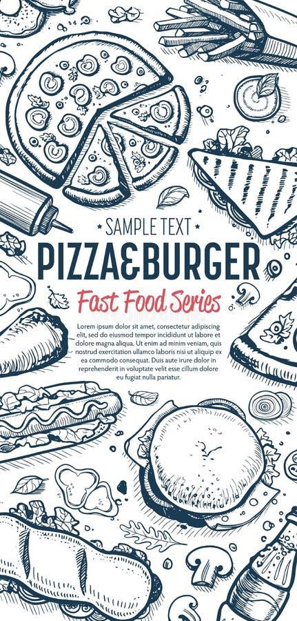 Fast Food Doodles Vertical Banner Menu Stock Vector Illustration