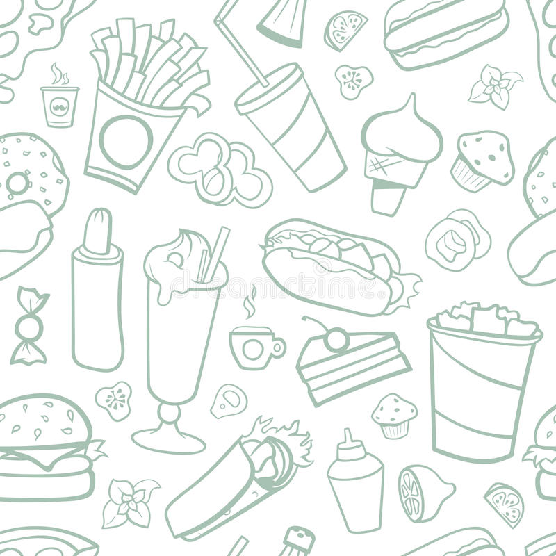 Fast food drawings seamless pattern. Line arts with white background royalty free illustration