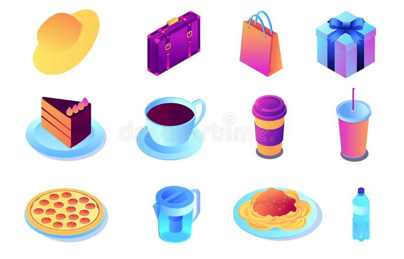 Fast food and drink, shopping isometric 3D illustration set. stock illustration