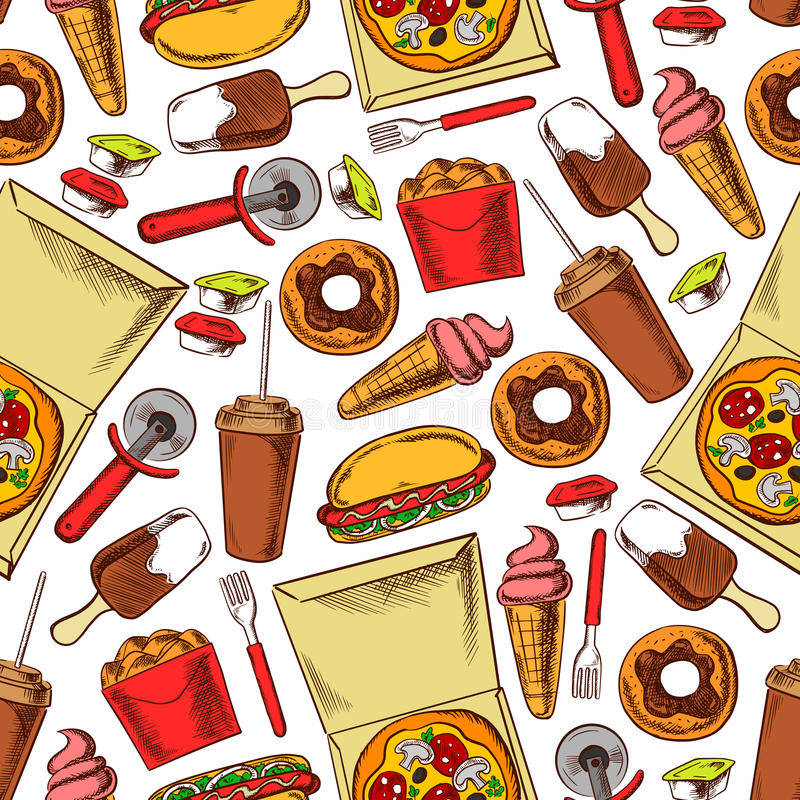 Fast Food, Drinks, Desserts. Seamless Background Stock