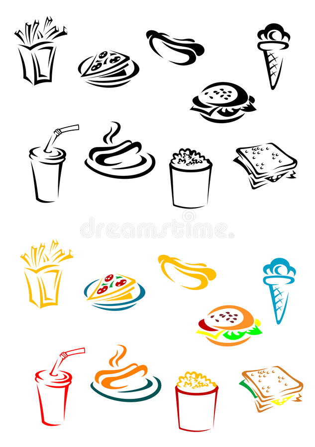 Fast food elements royalty free illustration