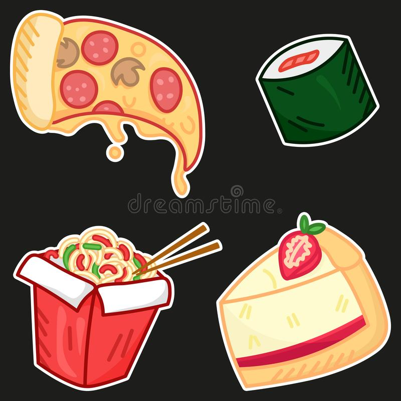Fast food elements set, cartoon pizza, wok, sushi, cheese cake, cute tasty food stickers for delivery royalty free illustration