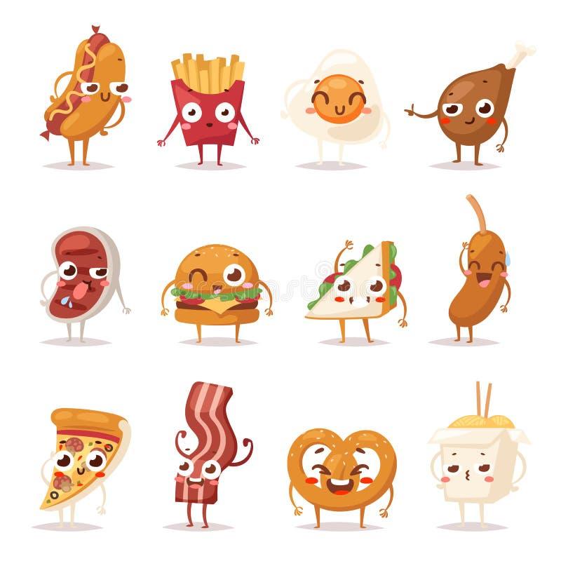Fast food emoci wektoru ilustracja royalty ilustracja