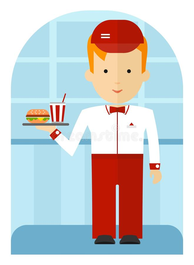 A fast food employee delivering a burger and a soda. Cartoon flat illustration. Waitress in white blouse serving coffee and cheeseburger vector illustration
