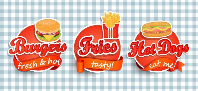 Fast food etykietka royalty ilustracja