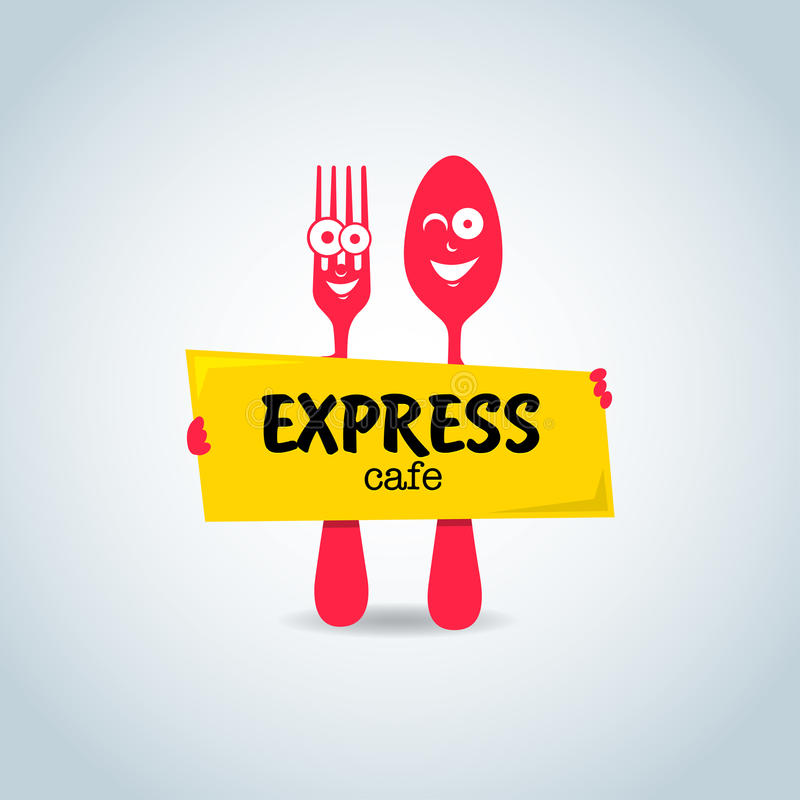 Fast food, express cafe logo template. Fork and spoon cartoon characters. stock illustration