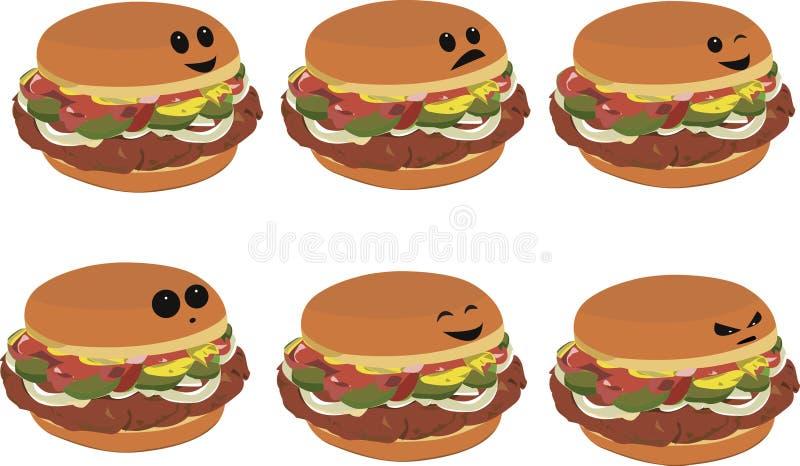 Download Fast Food Faces - Hamburger Stock Illustration - Illustration of fast, hamburger: 15524776