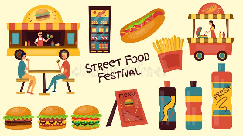 Fast food festival concept. Street fast food set with people, truck, food. Flat style. Vector illustration stock illustration