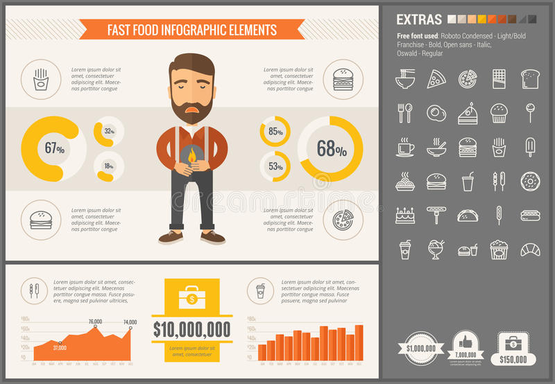 Fast food flat design Infographic Template. Fast food infographic template and elements. The template includes illustrations of hipster men and huge awesome set royalty free illustration