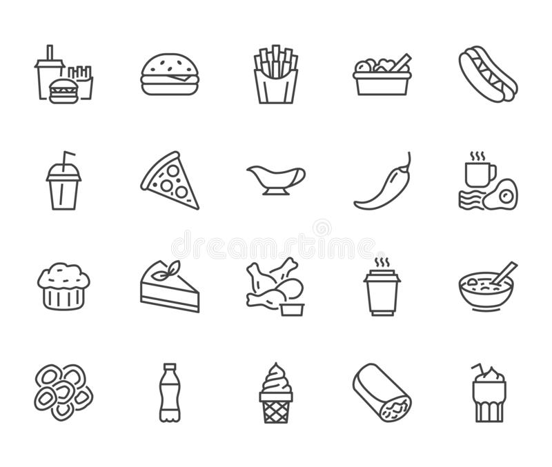Fast food flat line icons set. Burger, combo lunch, french fries, hot dog, sauce, salad, soup, pizza vector vector illustration