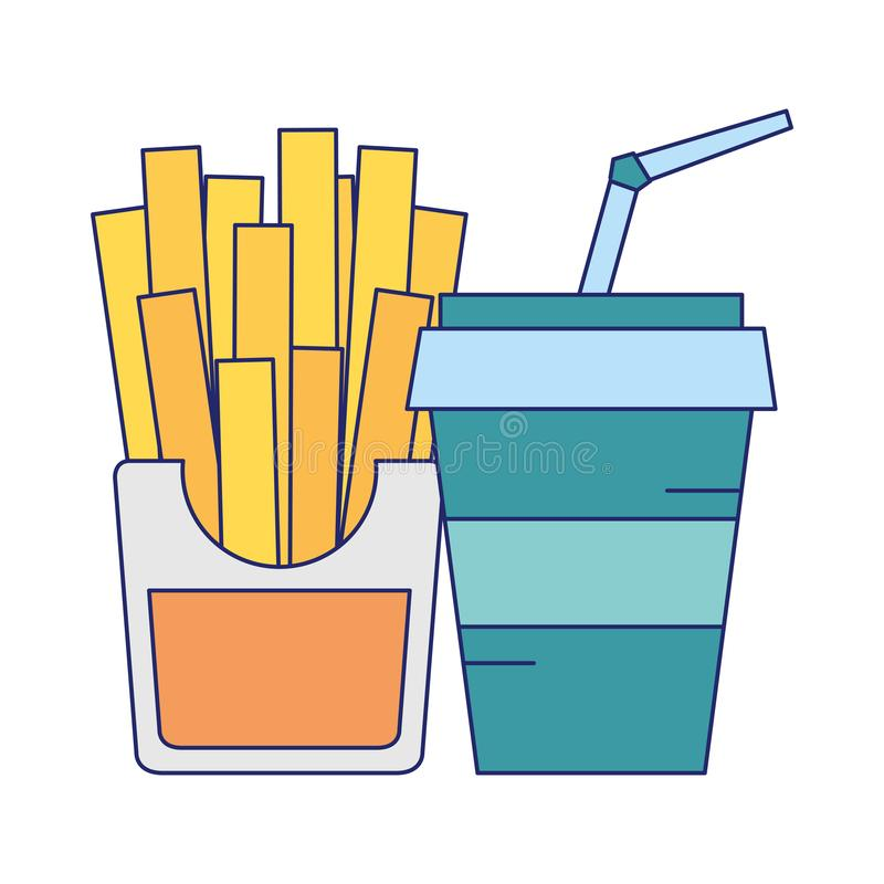 Free Fast Food French Fries And Soda Cup With Straw Blue Lines Royalty Free Stock Photo - 153598035