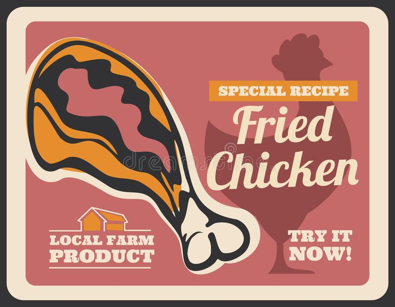 Fast food fried chicken drumstick retro poster vector illustration