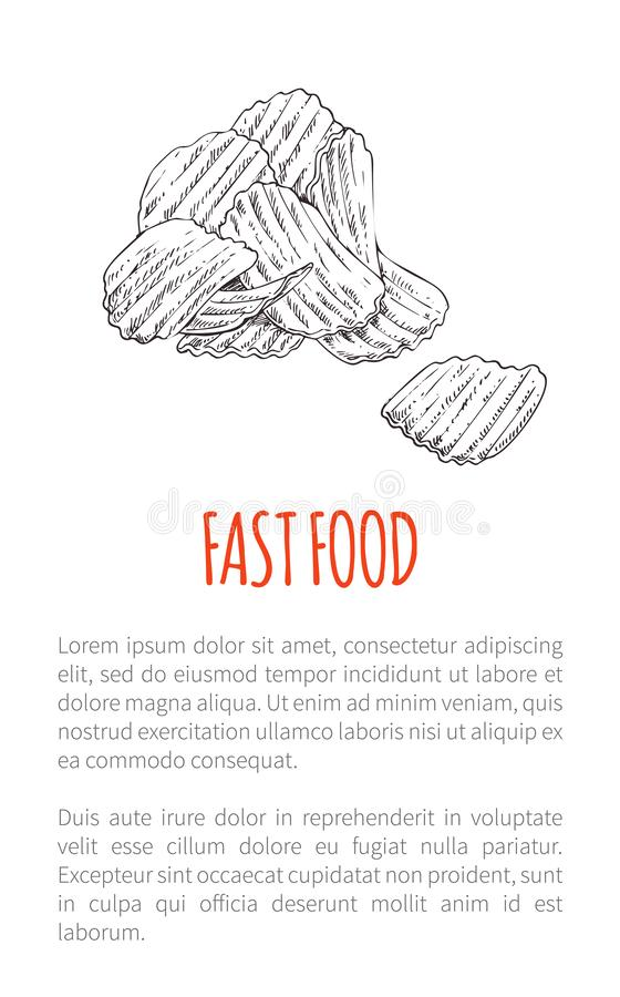 Fast Food Fried Potato Poster Vector Illustration. Fast food fried potato poster with text monochrome sketch outline. Drawn chips delicious snack crunchy lunch vector illustration