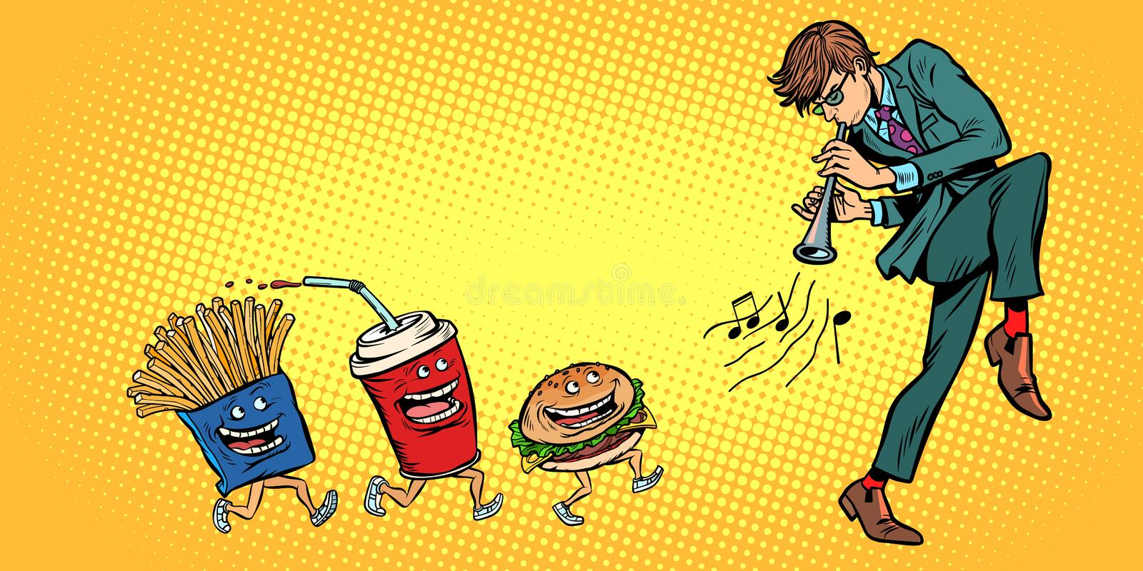 Fast food goes for man playing music vector illustration
