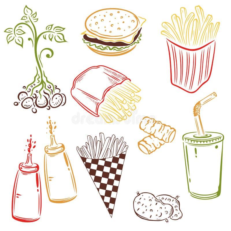 Fast food, grule royalty ilustracja