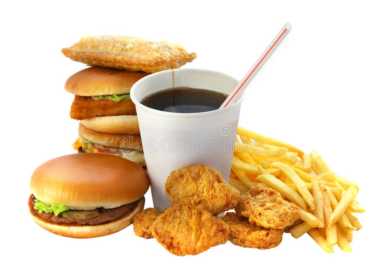 Fast food grupa z napojem i hamburgerem zdjęcia stock