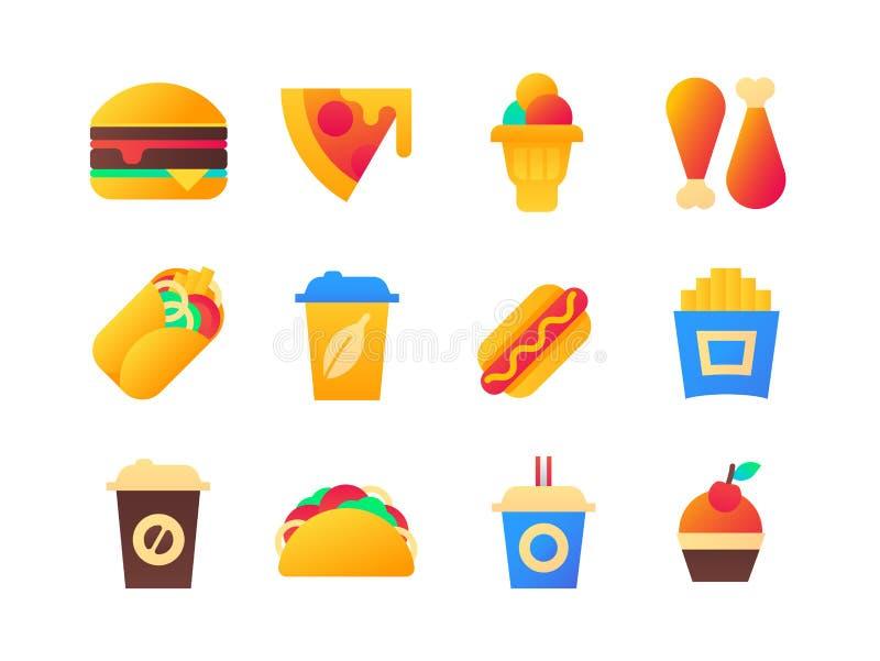 Fast food - grupo de ícones lisos do estilo do projeto ilustração stock