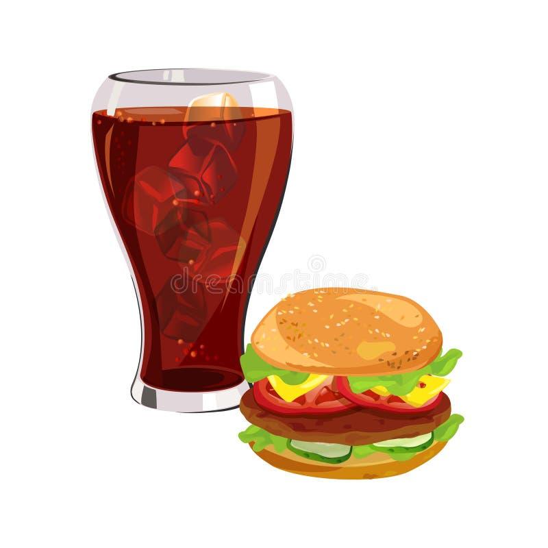 Fast food, Hamburger, cola com gelo ilustração stock