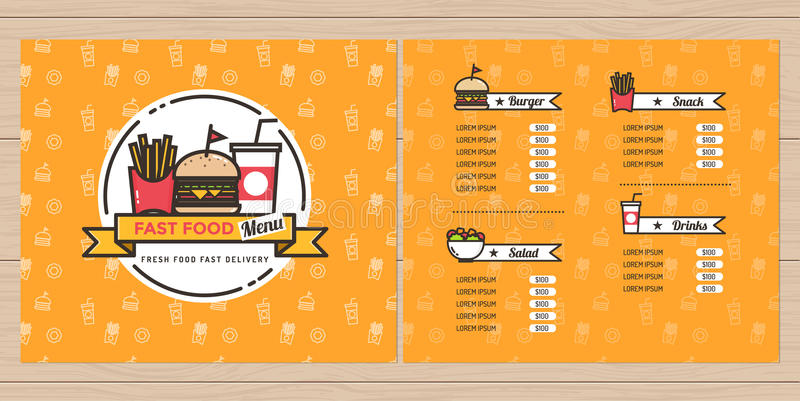 Fast food hamburger french fries menu design brochure for French brochure template