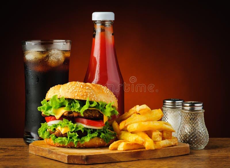 Fast food hamburger menu stock photography
