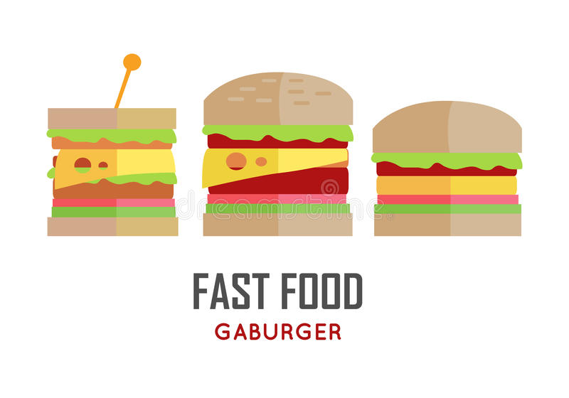 Fast Food Hamburger Vector Concept in Flat Design. stock illustration
