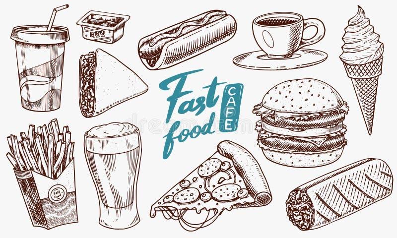 Fast food, hamburguer e Hamburger, tacos e cachorro quente, burrito e cerveja, bebida e gelado Esboço do vintage para o restauran ilustração do vetor