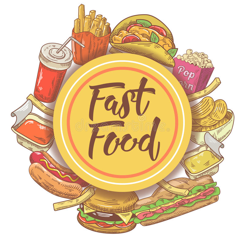 Fast Food Hand Drawn Design with Sandwich, Burger, Fries and Drink. Unhealthy Eating royalty free illustration