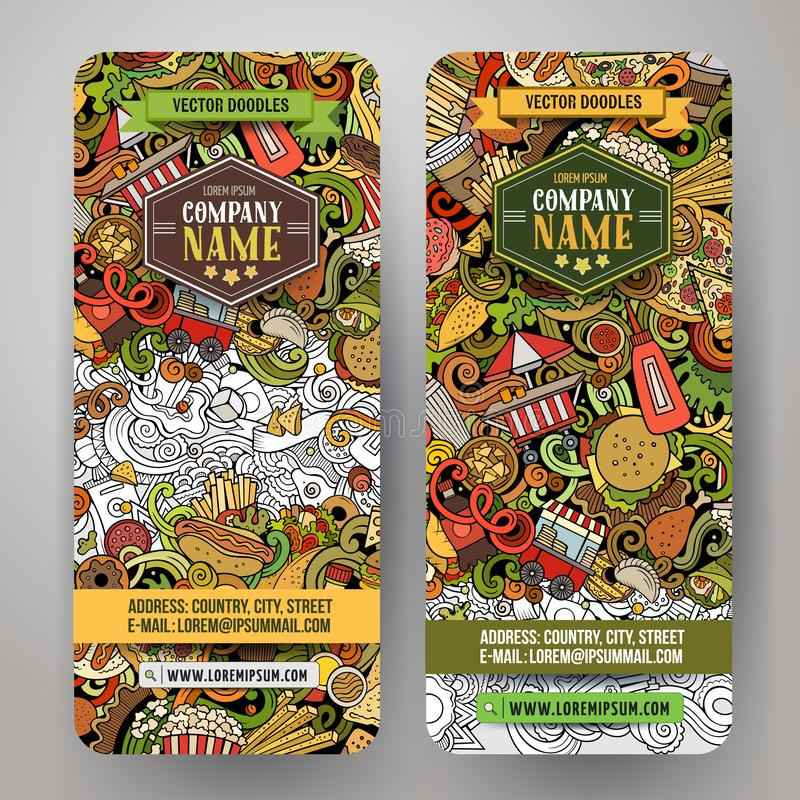 Fast food hand drawn doodle banners set. Cartoon detailed flyers. Fastfood identity with objects and symbols. Color vector design elements illustration stock illustration