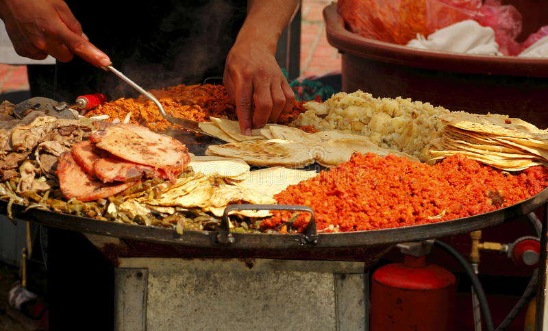 Fast food I. Typical mexican food present in all popular and public celebrations stock image