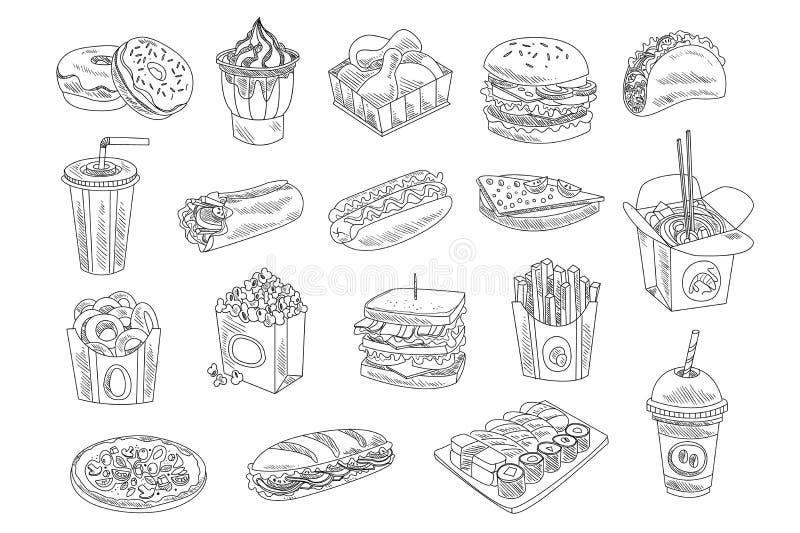 Fast food i napoju nakreślenia set Ręka rysujący wektorowy projekt fast food, uliczny jedzenie dla sklepowego lub cukiernianego m royalty ilustracja