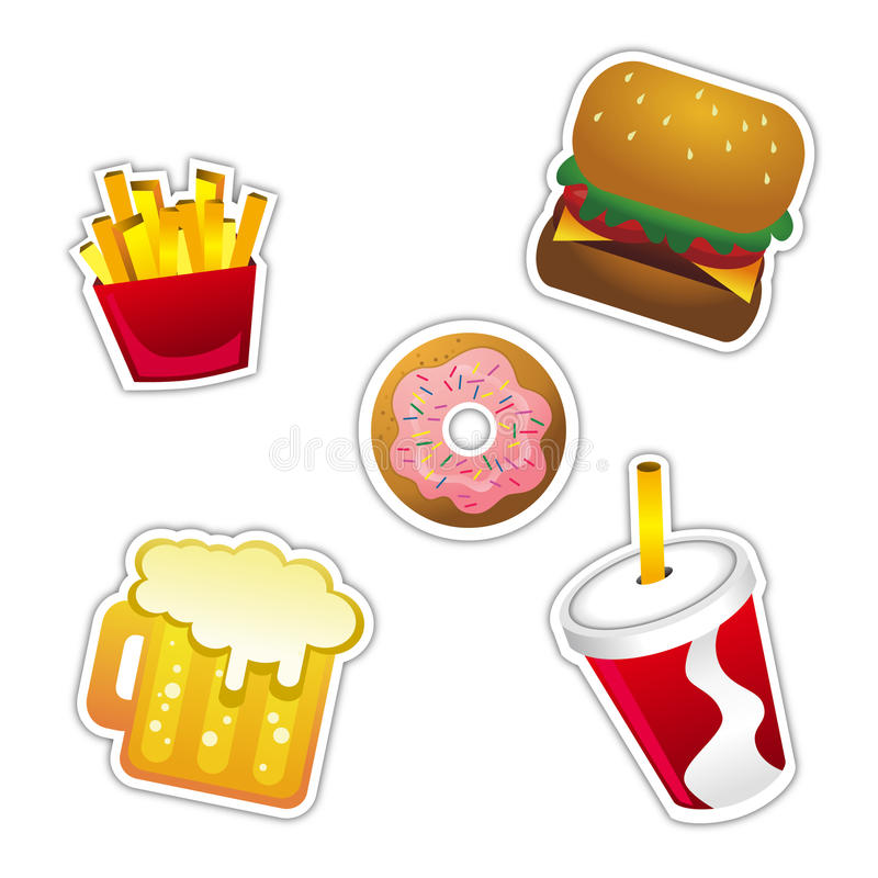 Download Fast Food Icon stock vector. Image of french, donut, graphic - 17653415