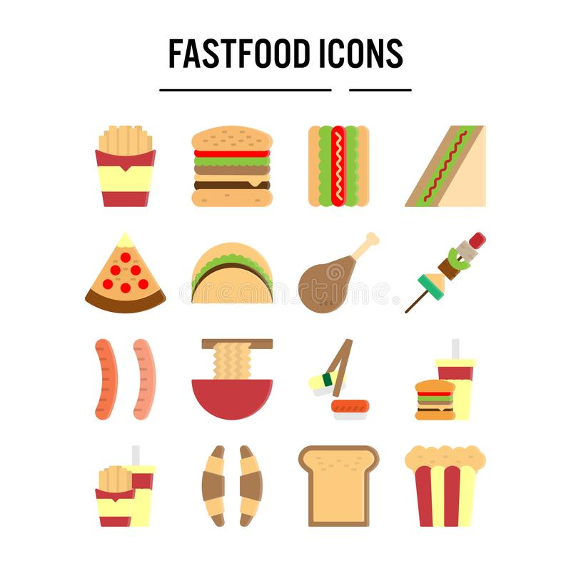 Fast food icon in flat design for web design , infographic , presentation , mobile application - Vector illustration stock illustration