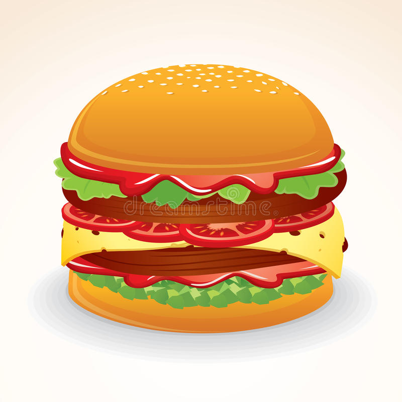 Download Fast Food Icon. Hamburger With Cheese, Relish Stock Vector - Illustration of diner, ketchup: 32604673