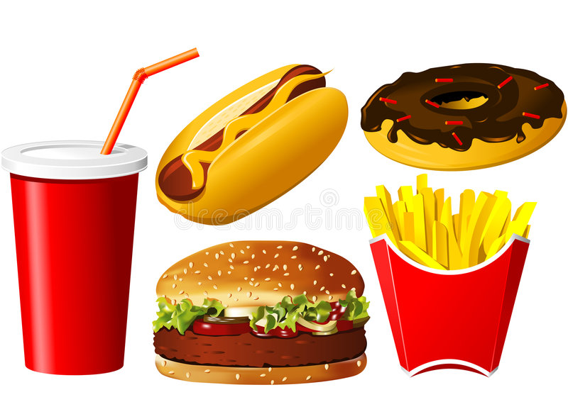 Fast food icon set. On the white