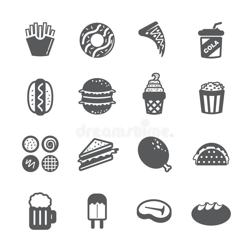 Fast food icon set stock photography