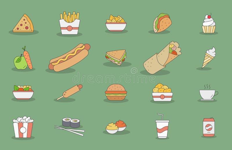 Fast-food-icons-03 ilustração stock