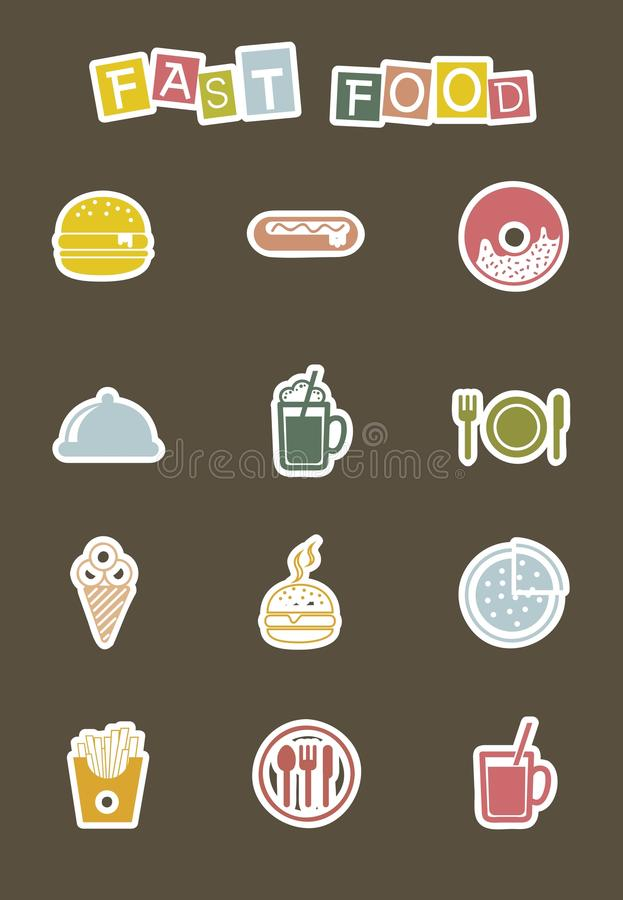 Fast food icons. Cute fast food icons over brown background vector illustration