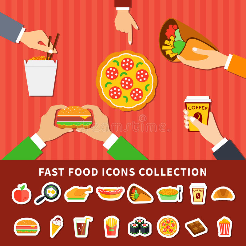 Free Fast Food Icons Hands Flat Banners Stock Photo - 88182980