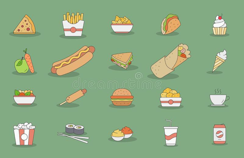Fast-food-icons-03 illustration stock