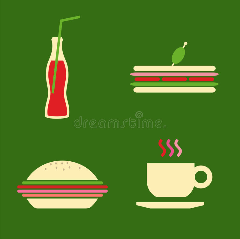 Download Fast food icons set stock vector. Image of burger, fried - 21120216