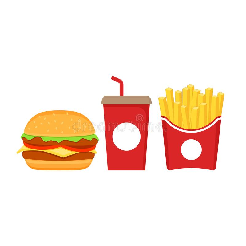 Free Fast Food Icons Set. Burger, French Fries In Red Paper Box And Soda In Red Paper Cup Cartoon Set. Stock Photography - 123335532