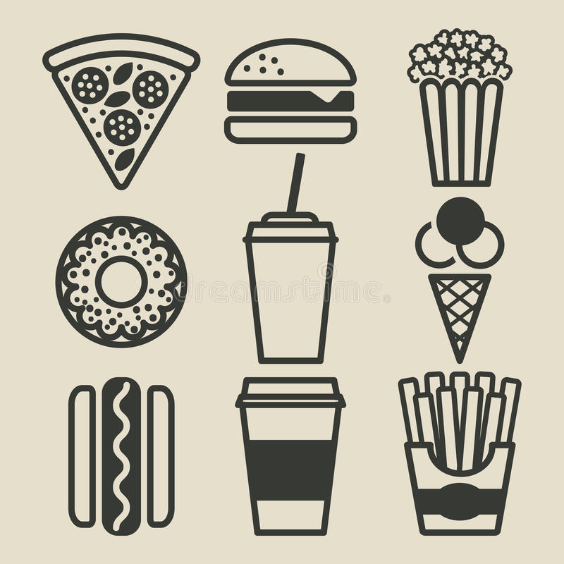 Fast food icons set royalty free illustration