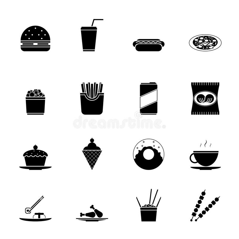 Fast Food Icons and Symbols Silhouette Set Vector Illustration stock illustration
