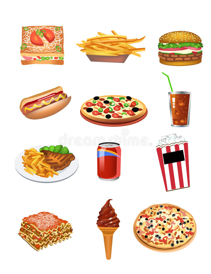 Download Fast food icons stock vector. Image of meat, food, burger - 32487333